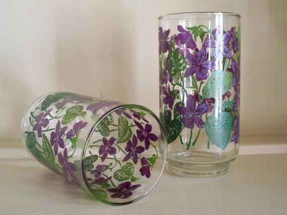 vintage purple violet libbey juice glasses  set of 2 by LSvintage, $14.00Violets Album, Purple Violets, Violets Libbey