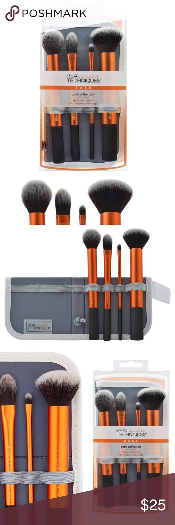Real Techniques Core Collection Kit ☀️ Real Techniques Core Collection Kit  Create a perfect canvas with this collection of coverage         Kit includes:  -Contour brush: delicately applies highlighter to the cheekbones for a sheer, soft-focus contour; - Pointed foundation brush: unique cut for use with liquid foundation - Detailer brush: precision cut to effortlessly conceal problem areas; or, use with lipstick for long-lasting shape & definition; - Buffing brush: full coverage application…