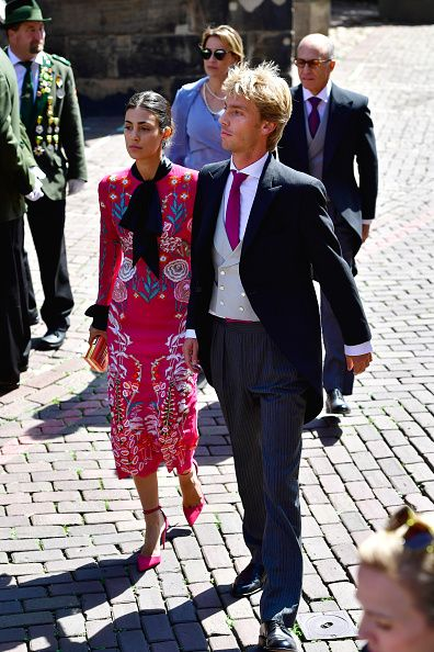 Prince Christian of Hanover and his fiancee Alessandra de Osma arrive for the wedding of his brother at the Hanover Market Church after their wedding on July 8, 2017 in Hanover, Germany.