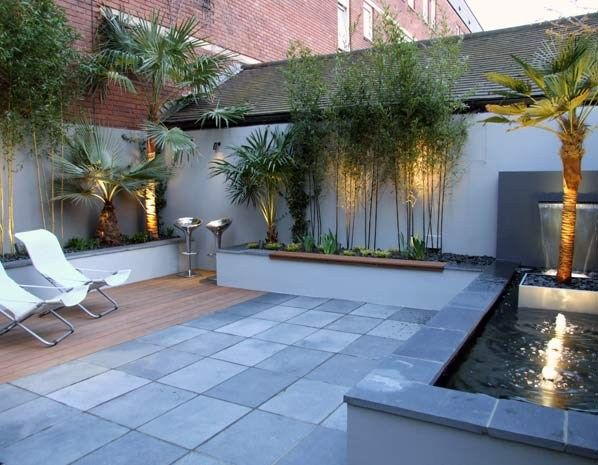 JMK says :- I like the contrasting materials in this courtyard garden and like the use of lighting and water feature (© My Landscapes).
