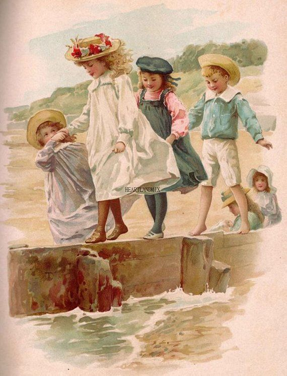 Image result for vintage kids beach