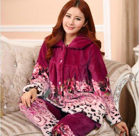On Sale Plus Size Women Flannel Thich Fleece Pajamas Sets Winter Long Sleeve Pyjamas Feminino For Women Sleepwear Homewear
