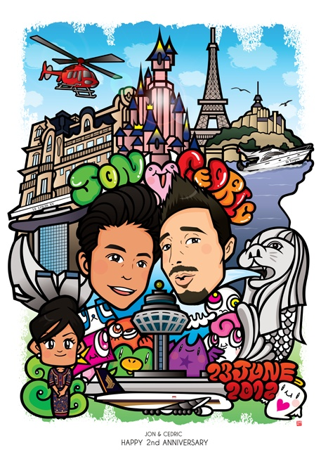 For John & Cedric in Singapore / Digital Portrait - デジタル似顔絵   This digital portrait was ordered from my friend Jon in Singapore for Cedric & For Jon & Cedric   Jon's Happy Anniversary ;)  Hope they will have a wonderful time on their anniversary! Thank you!