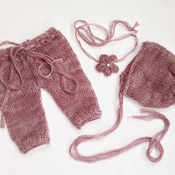 Mohair Newborn Photo-prop Bonnet Tieback and Pants by NoahandNoo