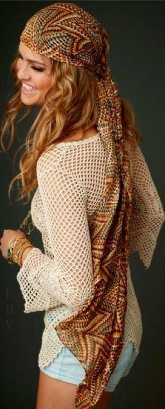 Carefree modern hippie fashion scarf and boho chic open weave crochet top for a fun music festival allure. For the best BOHEMIAN fashion style FOLLOW https://www.pinterest.com/happygolicky/the-best-boho-chic-fashion-bohemian-jewelry-gypsy-/ now.