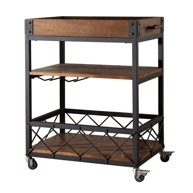 Ashburne Espresso Rustic Bar Cart HomeHills Bar Carts Bars & Bar Sets Game Room & Bar Furn