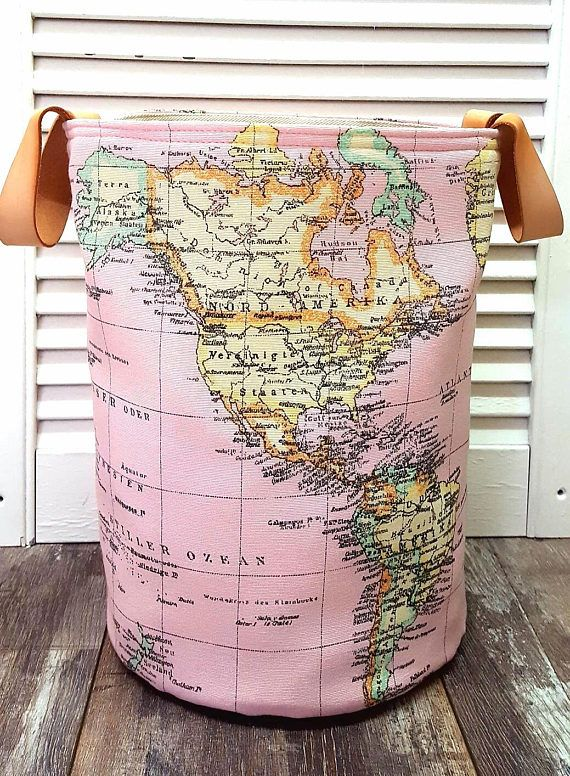PINK RETRO HAMPER World Map Vintage Atlas Small Round Tall