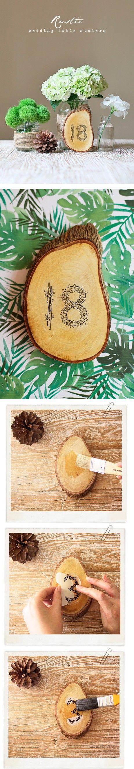 DIY Rustic wood slice table numbers #wedding #decorations