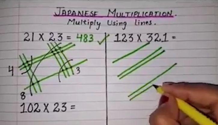 ➡️➡️➡️ Una figata veramente!! #matematica Da provare vengono facilissime. #Tabelline addio, la #moltiplicazione giapponese rende i #calcoli un gioco