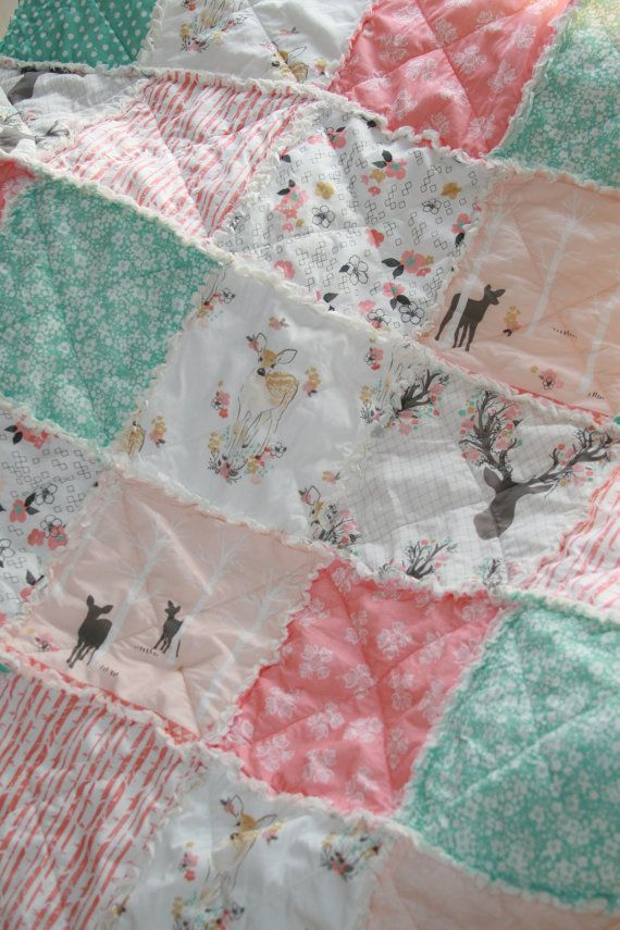 Crib Rag Quilt Baby Girl Crib Bedding Woodland by justluved