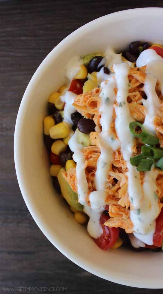 I literally eat this recipe twice a week since I've started my healthy lifestyle! These healthy buffalo chicken bowls are to die for good!: