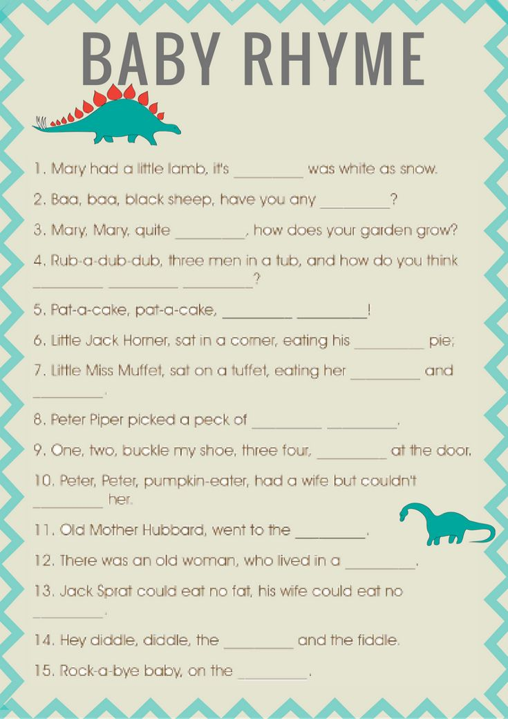 Good Baby Shower Nursery Rhyme Game. Do You Think Your Guests Can Guess These  Classic Nursery