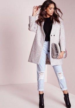 Wool Cocoon Coat Grey