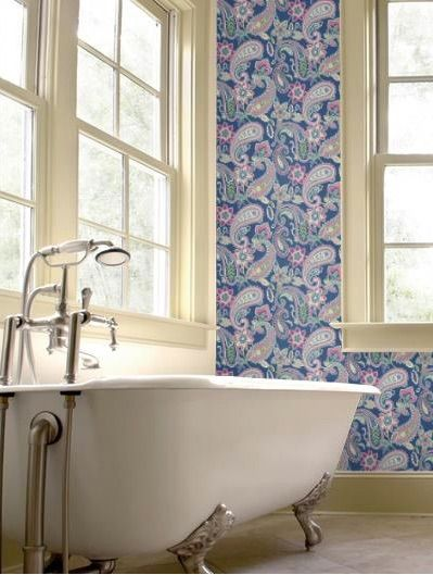 A contemporary large floral and paisely design with metallic highlights creating a bold statement. $99 per roll from www.wallcandywallpaper.com.au