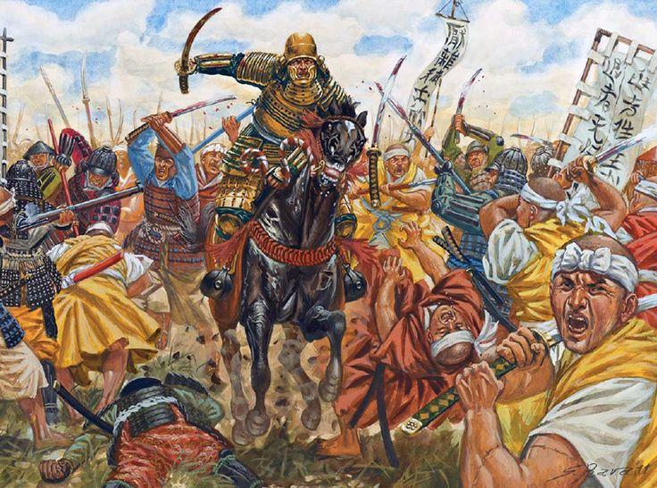Tokugawa Ieyasu leads the charge at the second battle of Azukizaka, 1564 - art by Giuseppe Rava