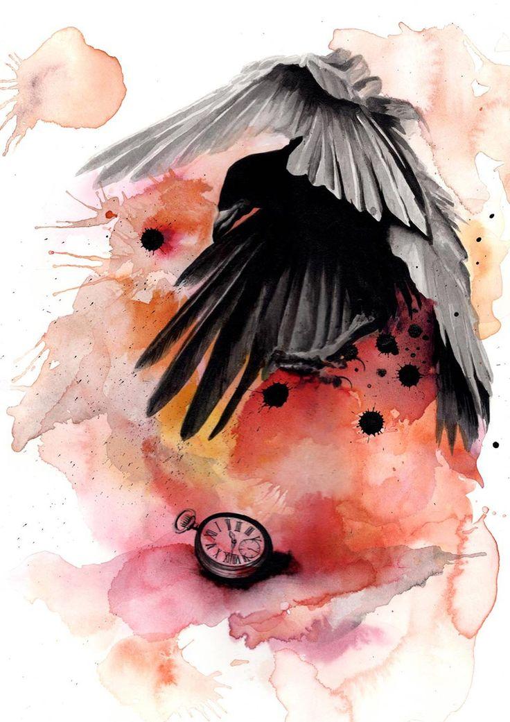 """Reproduction de mon aquarelle - """" Le corbeau """" - Format A3 : Affiches, illustrations, posters par clemcrea"""