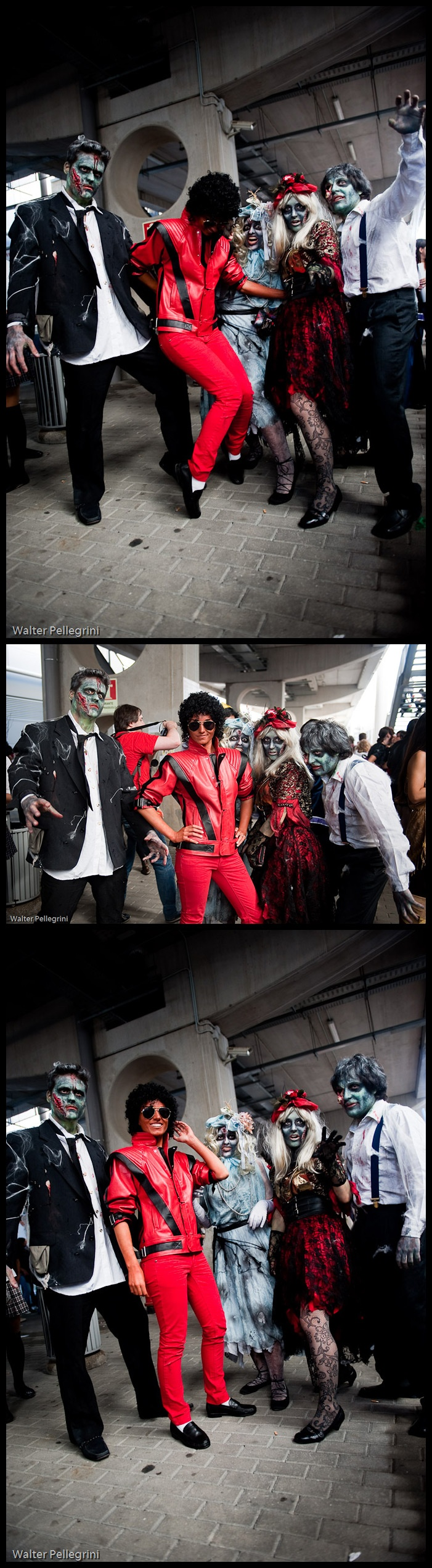 Okay, this Thiller group cosplay is one of the greatest things I've seen...and trust me, that's saying a lot. They even included the blonde zombie girl! It's those little details that make me giddy! :-D