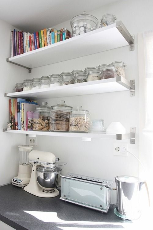 IKEA SPOTTED // EKBY BJÄRNUM aluminum brackets, EKBY AMUND shelf in white, SLOM jar with lid in various sizes  [via Hvite tulipaner]