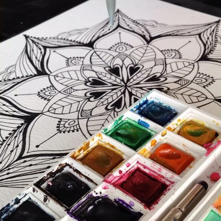 """0 Likes, 1 Comments - KoTie van Wyk (@jackoutofthebox13) on Instagram: """"I prefer keeping my Mandalas in black and white, but sometimes you need to challenge yourself..."""""""