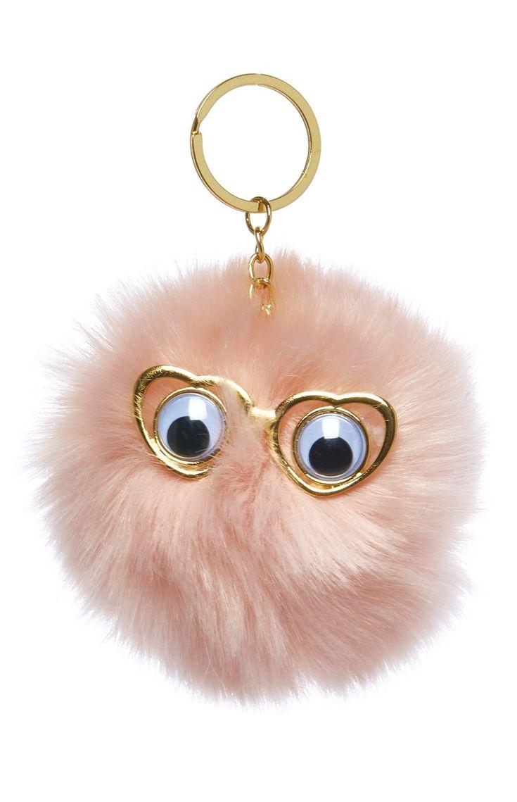 Pink Novelty Fur Pom-Pom Keyring