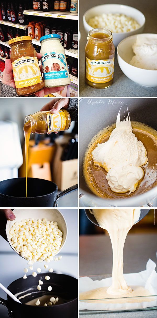 heat the sauce and marshmallow fluff, then add the chocolate chips and pour and let set, easy peasy. you can leave it as a butterscotch layer but adding the second layer creates the look of butterbeer