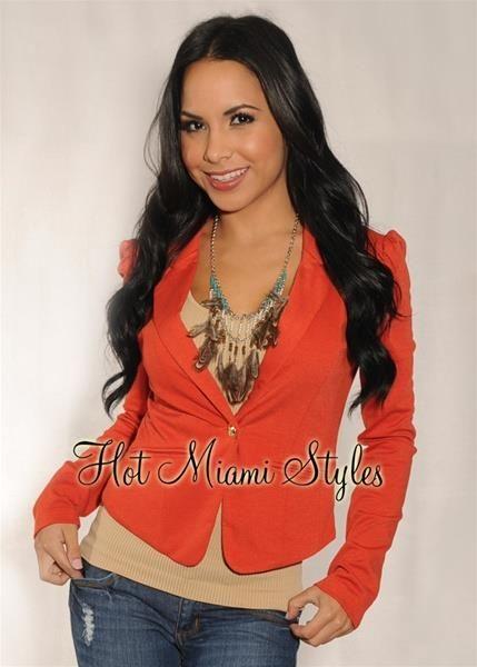Женский оранжевый пиджак из турции