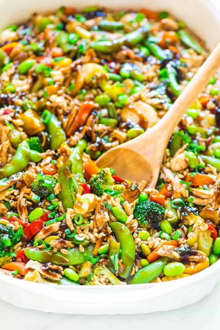 Teriyaki Chicken Casserole: a crowd-pleasing, EASY all-in-one meal with juicy chicken, crisp veggies, rice, and an addictive homemade teriyaki sauce.