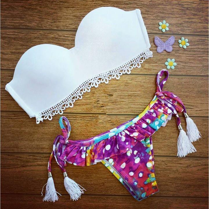 Floral Print Split Swimsuit