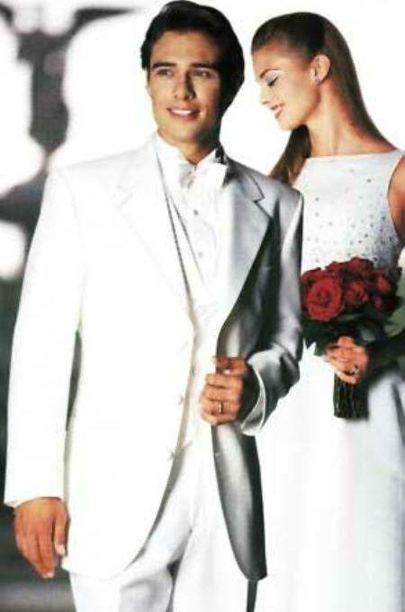 Esmoquin masculino Blanco 3 Botones Paquete de Pajarita y Camisa de Esmoquin Concedido 189 dólares