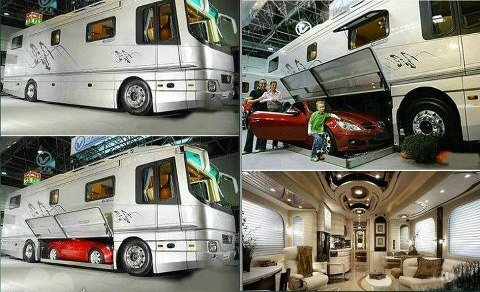 class a rv with room for toad in basement storage. Black Bedroom Furniture Sets. Home Design Ideas