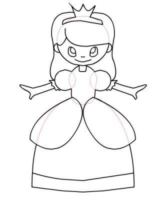 dessin de princesse : les contours