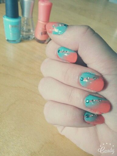 Orange green nails