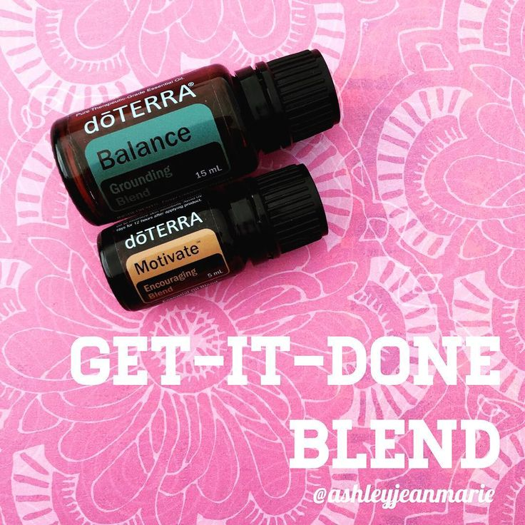 If you tend to procrastinate like I do you will love my GET IT DONE diffuser blend *3 drops Balance (grounding blend) *2 drops Motivate (encouraging blend). Motivate is citrusy and promotes feelings of confidence and courage while counteracting feelings of doubt and pessimism. Balance is warm, woodsy, and calming making you feel grounded #aromatherapy #essentialoils #doterra #diffuser (from ashleyjeanmarie on Instagram)