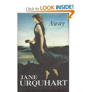 "Away - Jane Urquhart. Pinner writes: ""The narrative unfolds w/ shimmering clarity & takes us from the harsh northern Irish coast in the 1840s to the quarantine stations at Grosse Isle & the barely hospitable land of the Canadian Shield; from the flourishing town of Port Hope to the flooded streets of Montreal; from Ottawa at the time of Confederation to a large-windowed house where Esther O'Malley Robertson gazes out at Lake Ontario for perhaps the last time."""