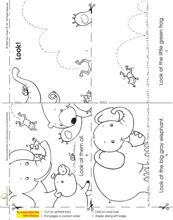 make a mini story book look at the animals - Printable Kindergarten Books