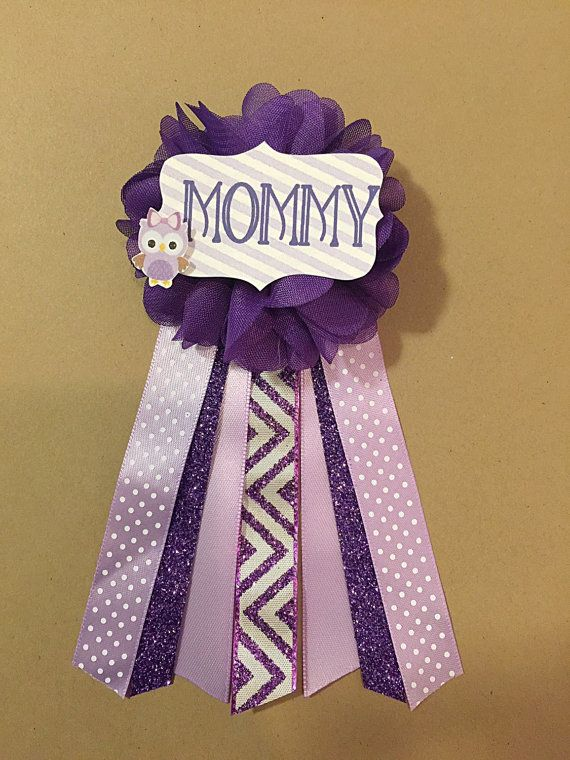 Purple Owl Baby Shower Mommy-to-be Flower Ribbon Pin by afalasca