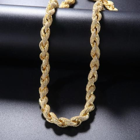 8mm 14k Gold Iced Out Rope Chain Gold Chain Design Chain Gold Chain Jewelry