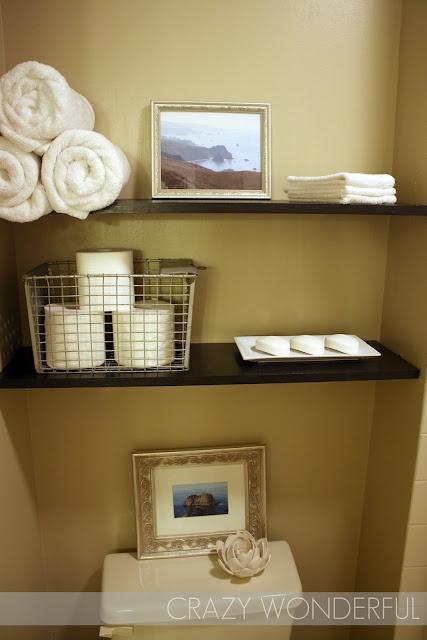 shelves over toilet - from here: http://westermanfam.blogspot.com/2012/04/honey-i-need-more-soap.html
