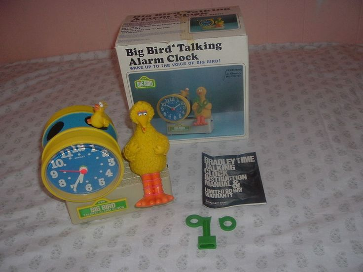 Original Sesame Street Big Bird wind up Bradley Talking Alarm Clock w/Box & Key.