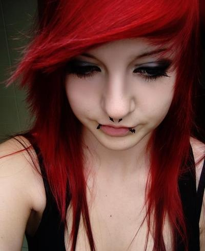 girls red Emo tumblr with hair