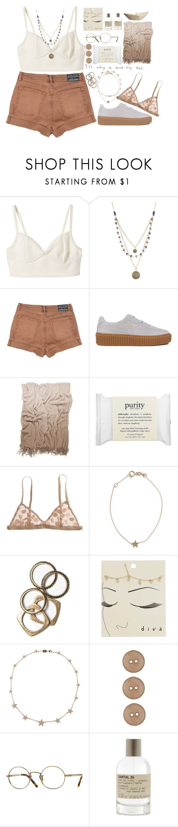 """""""let her go"""" by afrociucci13 ❤ liked on Polyvore featuring Alicia Marilyn Designs, MTWTFSS Weekday, Puma, Moltex, philosophy, Madewell, Kismet, Rachel Leigh, Miss Selfridge and Lee Angel Jewelry"""