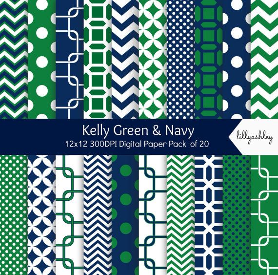 Kelly Green Amp Navy Digital Paper Pack Of 20 Instant 12x12