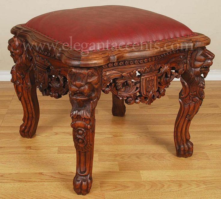 Ottomans Ornate Mahogany Ottoman: Mahogany Gothic Lion Throne Ottoman Footstool Stool Brown