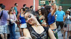 Femme chilienne. Mujer chilena. Fiesta del roto Chileno 2014. Barrio Yungay. Santiago de Chile
