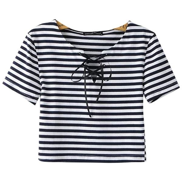 Chicnova Fashion Lace-up Cropped T-shirt in Stripe Print ($14) ❤ liked on Polyvore featuring tops, shirts, crop top, crops, stripes, v-neck shirts, lace up shirt, v neck tops, lace up front top and lace up crop top