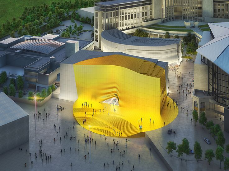 MVRDV's entertainment plaza in seoul is highlighted with a giant golden spot