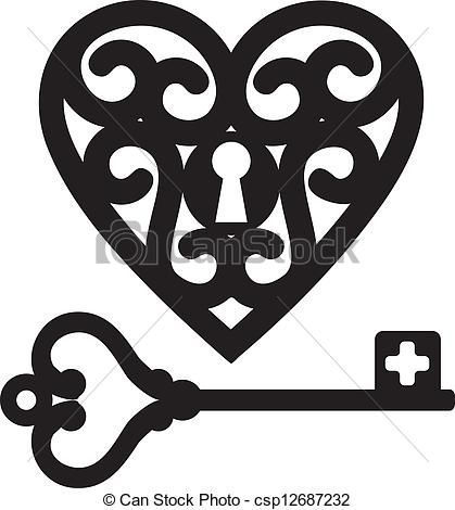 Vectors of heart and skeleton key - lock shaped heart and skeleton ...