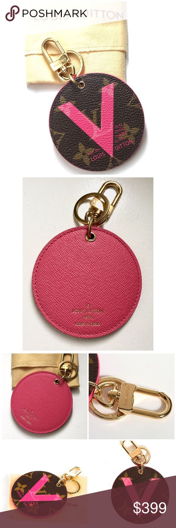 "LOUIS VUITTON Illustre V Bag Charm Grenade Authentic LOUIS VUITTON Monogram Illustre V Bag Charm Grenade.- limited edition - This key holder is a disk of Louis Vuitton monogram on toile canvas. The key ring has a bold pink V with the Louis Vuitton ""Articles de Voyage"" logo print -brass D-Ring clasp and a key ring for both Luxury and style! Length: 3"", Height: 3.25"", Drop: 1.75"" Comes With: dust bag - like new sold out ! Louis Vuitton Bags"