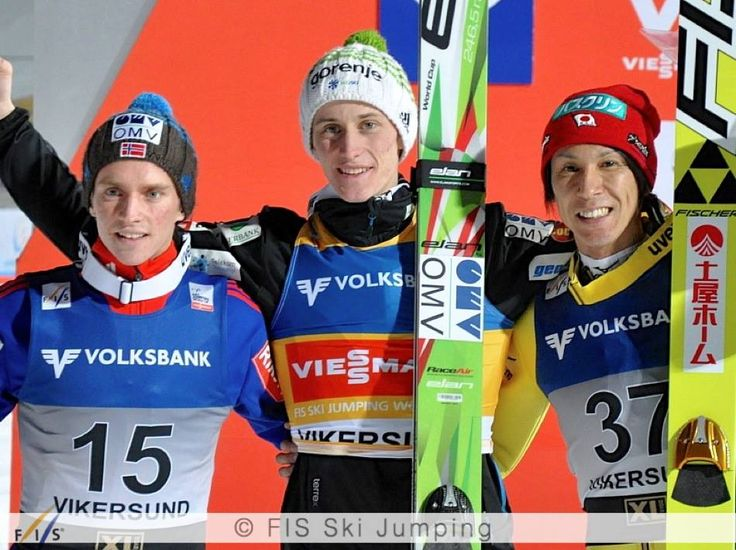 Peter Prevc won the ski flying competition in Vikersund with a new world record. In the final the Slovene landed at amazing 250 m and improved the four year old record of Johan Remen Evensen by 3.5 meters.