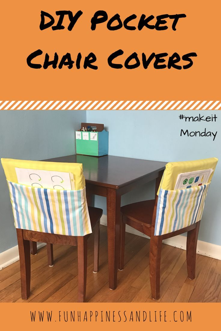 DIY Pocket Chair Cover helps to organize your homework station and adds a pop of color to your decor.